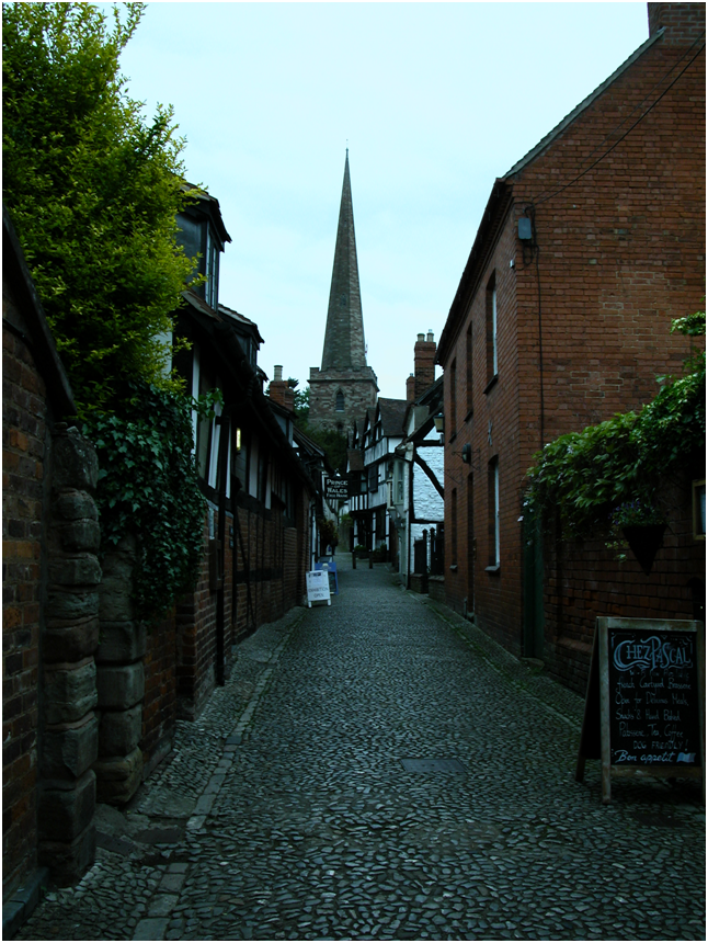 And looking up Church Lane to the steeple of St Michael and All Angels Church, Ledbury.png